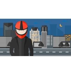 Man in biker helmet vector image