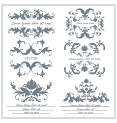 Set of decorative floral ornaments in victorian vector