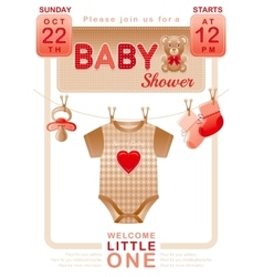 Baby shower unisex invitation design for boy or vector
