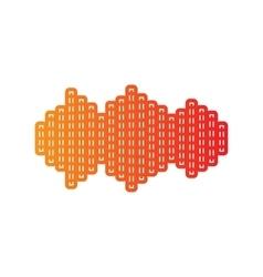Sound waves icon orange applique isolated vector