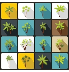 Palm tree icons set flat style vector image