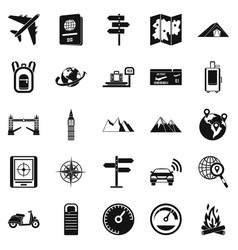 Abroad icons set simple style vector