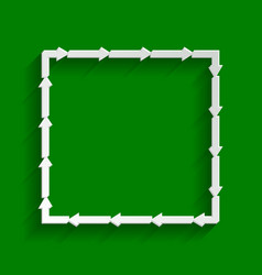 arrow on a square shape paper whitish vector image