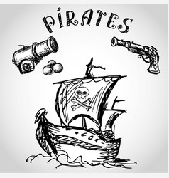 Collection of hand-drawn pirates design elements vector