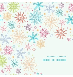 Colorful doodle snowflakes corner frame seamless vector