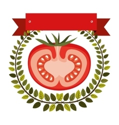 Colorful olive crown and label with half tomato vector