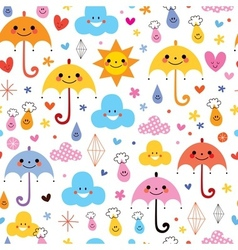 Cute umbrellas raindrops flowers clouds sky vector