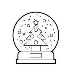 decorative crystal ball with pine vector image