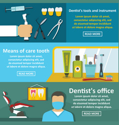 dentist tool banner horizontal set flat style vector image vector image