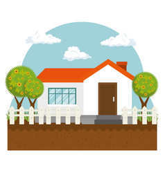 Farm cute house icon vector