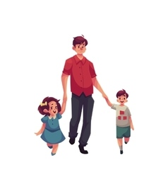 Father with daughter and son walking together vector