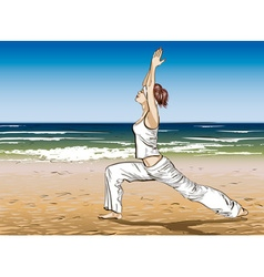 Girl Doing Yoga at the Beach vector image vector image
