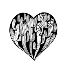 Hand dawn heart from cactus cacti coloring page vector