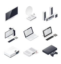 Home entertainment devices isometric icon vector