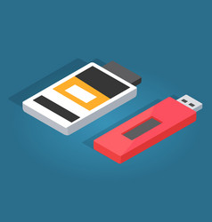 icons of red usb and white memory card reader vector image