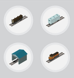 Isometric train set of lumber shipping train vector