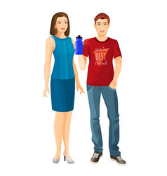 Man wears t-shirt and jeans woman in dress vector