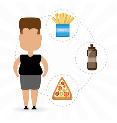 Person fat for eat fast food vector