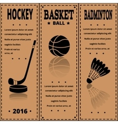 Retro sport card sports items on kraft paper vector