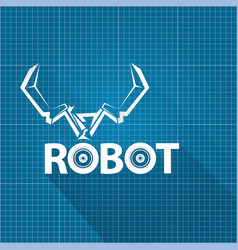 Robotic arm symbol on blueprint paper vector