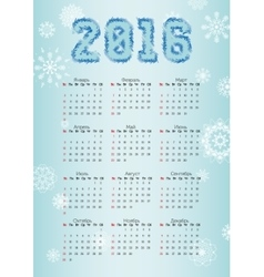 Russian Calendar for 2016 on blue background and vector image