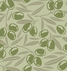 Seamless background with green olives vector image