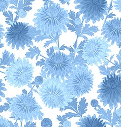 seamless texture with blue chrysanthemum for your vector image vector image