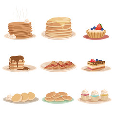set with various sweet desserts stack of pancakes vector image vector image