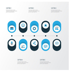 Social colorful icons set collection of cogwheel vector
