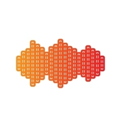 Sound waves icon orange applique isolated vector
