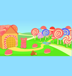 sweets horizontal banner candies cartoon style vector image