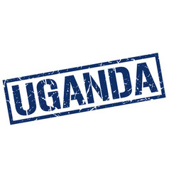 Uganda blue square stamp vector