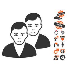 users icon with valentine bonus vector image
