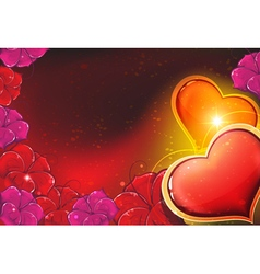 Valentine hearts and flowers vector image vector image