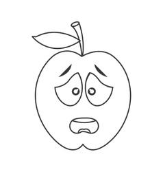 Worried apple cartoon icon vector