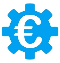 Euro machinery gear flat icon vector