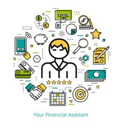 line art concept - financial assistant vector image