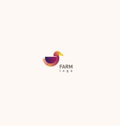 Creative logo design geometric multicolored duck vector