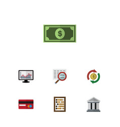 Flat icon incoming set of counter scan bank and vector