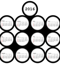 2016 black circles calendar for office vector image vector image