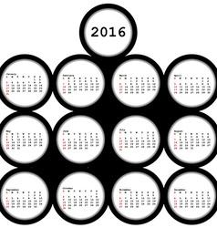 2016 black circles calendar for office vector