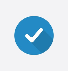 Ok flat blue simple icon with long shadow vector