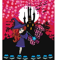 Cute cartoon of a witch vector