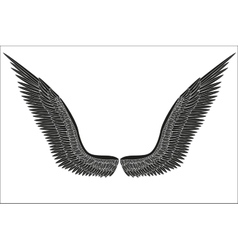 Sketch open black angel wings vector