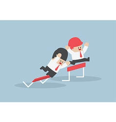 Businessman and his rival in hurdle race vector