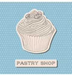 Hand drawn cupcake with berry vector