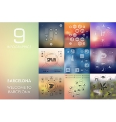 Barcelona infographic with unfocused background vector