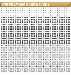 840 arrow icons black color simple vector image