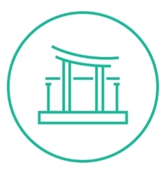 Torii gate line icon vector