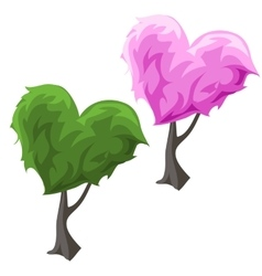 Topiary tree in hearts forms green and pink color vector